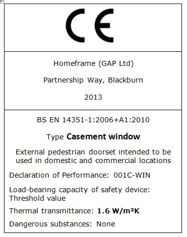 Homeframe CE Marking Casement