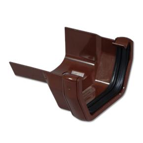 Square/Cast Iron Ogee LH Gutter Adaptor Brown