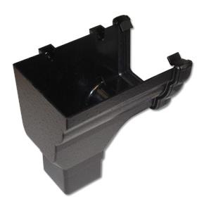 Ogee Gutter Stop End Outlet LH Cast Iron Effect